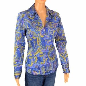 Jones New York Signature Blue Paisley Button Up S